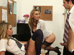 Lustful teacher Tanya Tate helps Charlee Monroe to please stud's cock