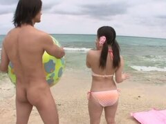 Sexy Asian Babe Mao Kurata Gets Fucked Hard At The Beach