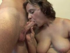 Mom with a fat ass gives him her pussy