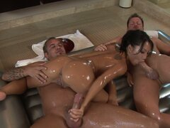 Gorgeous Asian Asa Akira gives Nuru massage to two white guys