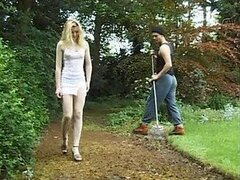 Horny Blonde Slut Fucking The Gardener Outdoors