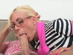 Dirty blonde mommy fucks her daughter's boyfriend in front of her eyes