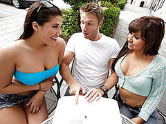 Jade and London have a shitty television set so they devise a plan to get a new one for free, well, sort of free. Their plan is to find a guy, go back to his place, fuck him and then steal his television set. Check out these hot babes get it on and see if