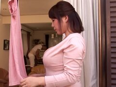 Busty Japanese milf Rin Aoki and squeezes her nice tits