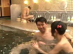 Naughty Japanese Teen Bathing an Older Man In Male Spa