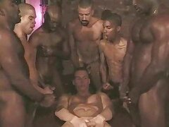 Gay interracial gangbang with white boy taking cock