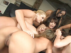 There are so many girls in this scene...I don't even know where to begin! These girls lick each others pussies, use a plethora of different dildos on each other...but best of all they squirt hot fem cum all over each others naked bodied! Drenched tits are