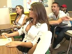 Hot Threesome In Class With School Girls Madelyn Marie and Nika Noire