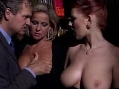 Two sexy milfs are sharing a huge cock in a wild anal threesome