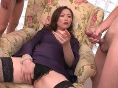 Milf likes all these guys masturbating to her