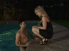 Pretty shemale Celeste gets her asshole pounded on the poolside