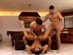 Three guys have great gay sex after playing billiard