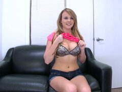 New Girl Alexis Adams Getting Drilled Hard on the Black Couch
