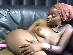 Ebony Chick Masturbates On The Couch In Homemade Video