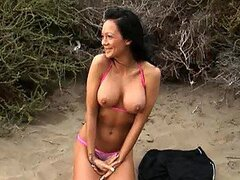 Hot Italian Brunette Sucks and Fucks A Cock On The Beach
